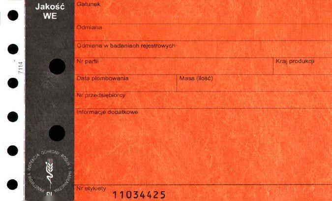 etykieta czerwona - materiał siewny