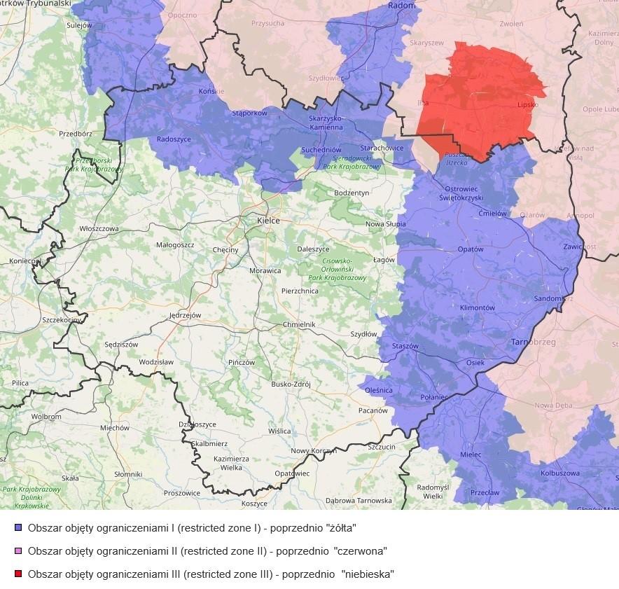 mapa ASF świętokrzyskie