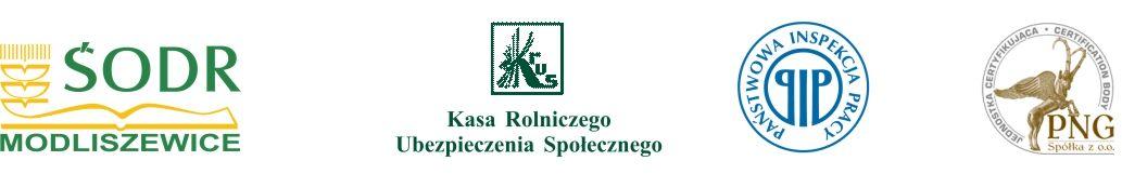 Logorypy ŚODR, KRUS, PIP i PNG Sp. z o.o.