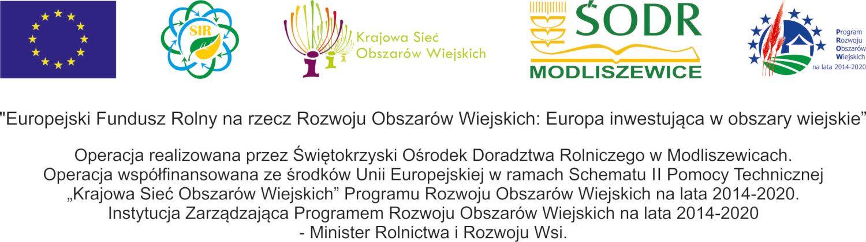 """Logotypy dotyczące jednostek związanych z projektem i jego finansowaniem: od lewej - Unia Europejska, Sieć na rzecz innowacji w rolnictwie i na obszarach wiejskich, Krajowa Sieć obszarów Wiejskich, Świętokrzyski Ośrodek Doradztwa rolniczego w Modliszewicach, Program Rozwoju Obszarów Wiejskich na lata 2014-2020.  Tekst pod logotypami: """"Europejski Fundusz Rolny na rzecz Rozwoju Obszarów Wiejskich: Europa inwestująca w obszary wiejskie"""". Operacja realizowana przez Świętokrzyski Ośrodek Doradztwa Rolniczego w Modliszewicach. Operacja współfinansowana ze środków Unii Europejskiej w ramach Schematu II Pomocy Technicznej """"Krajowa Sieć Obszarów Wiejskich"""" Programu Rozwoju Obszarów Wiejskich na lata 2014-2020. Instytucja Zarządzająca Programem Rozwoju Obszarów Wiejskich na lata 2014-2020 - Minister Rolnictwa i Rozwoju Wsi."""